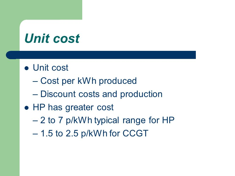 Unit cost Unit cost – Cost per kWh produced
