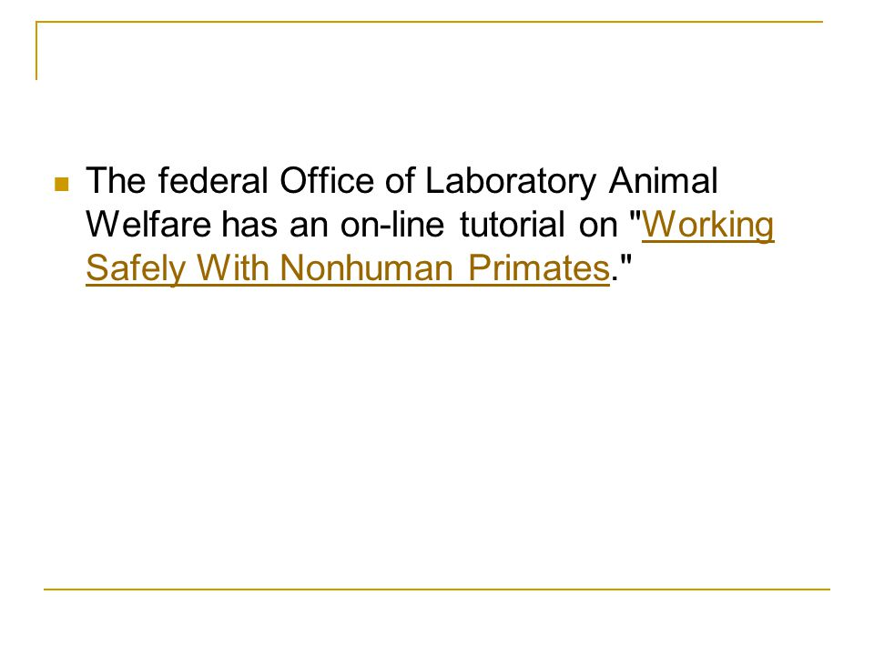 The federal Office of Laboratory Animal Welfare has an on-line tutorial on Working Safely With Nonhuman Primates.