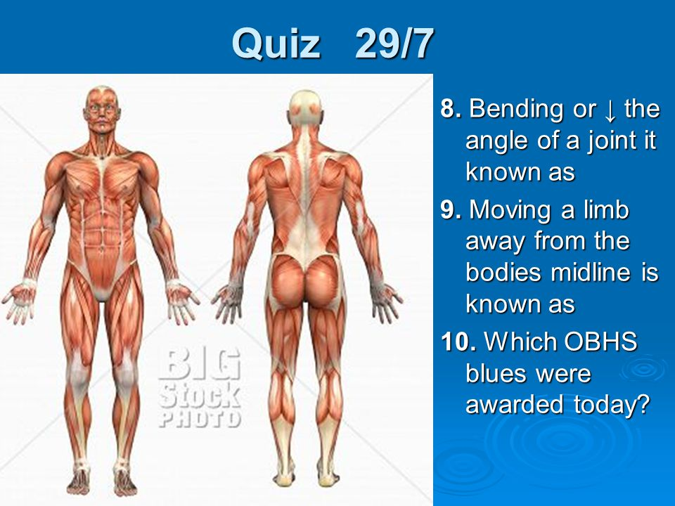 Quiz 29/7 8. Bending or ↓ the angle of a joint it known as