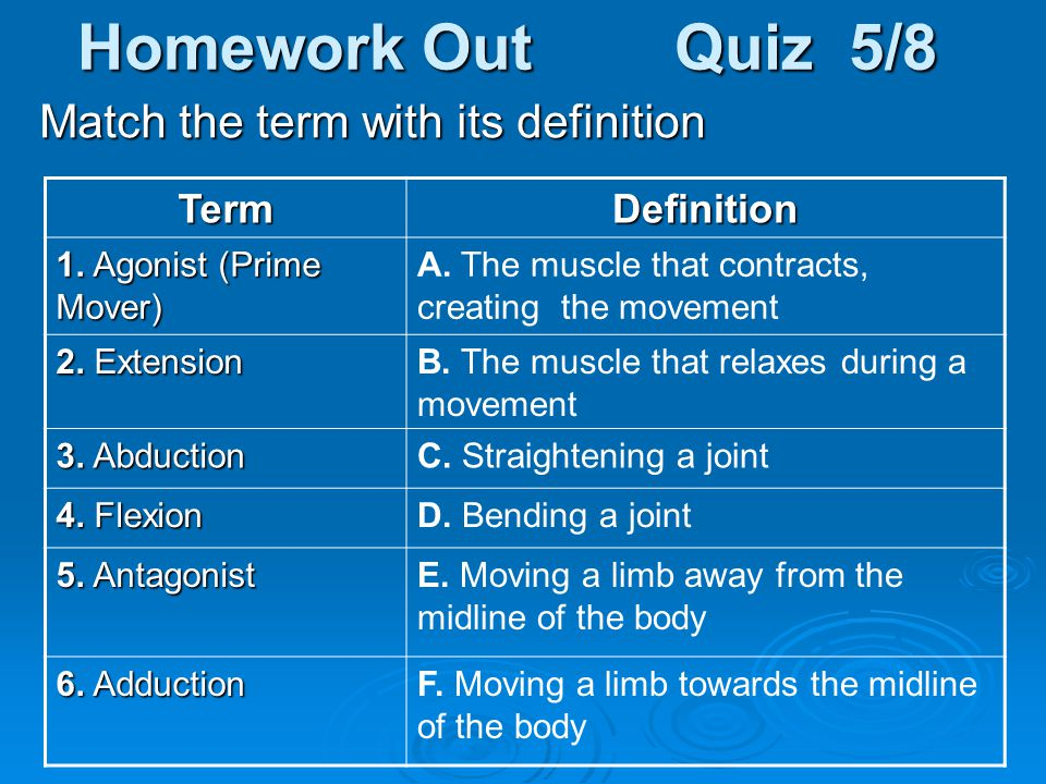 Homework Out Quiz 5/8 Match the term with its definition Term
