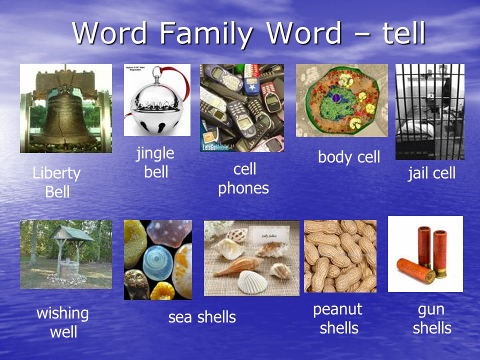 Word Family Word – tell bell body cell phones Bell peanut shells