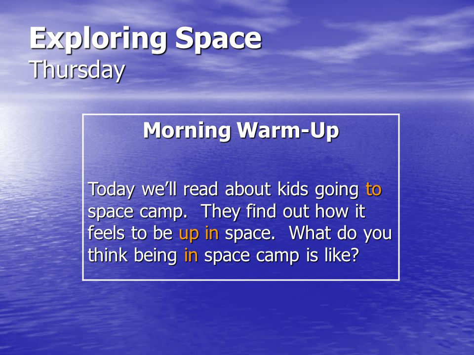 Exploring Space Thursday