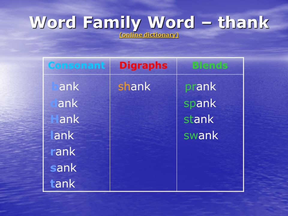 Word Family Word – thank (online dictionary)