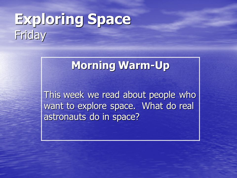 Exploring Space Friday