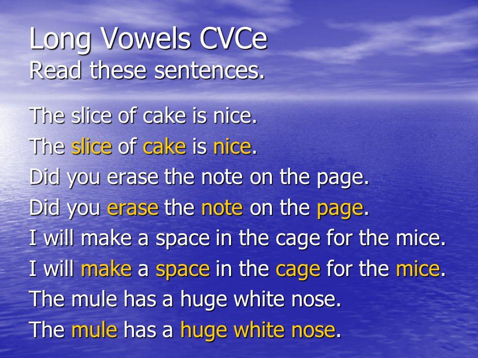 Long Vowels CVCe Read these sentences.