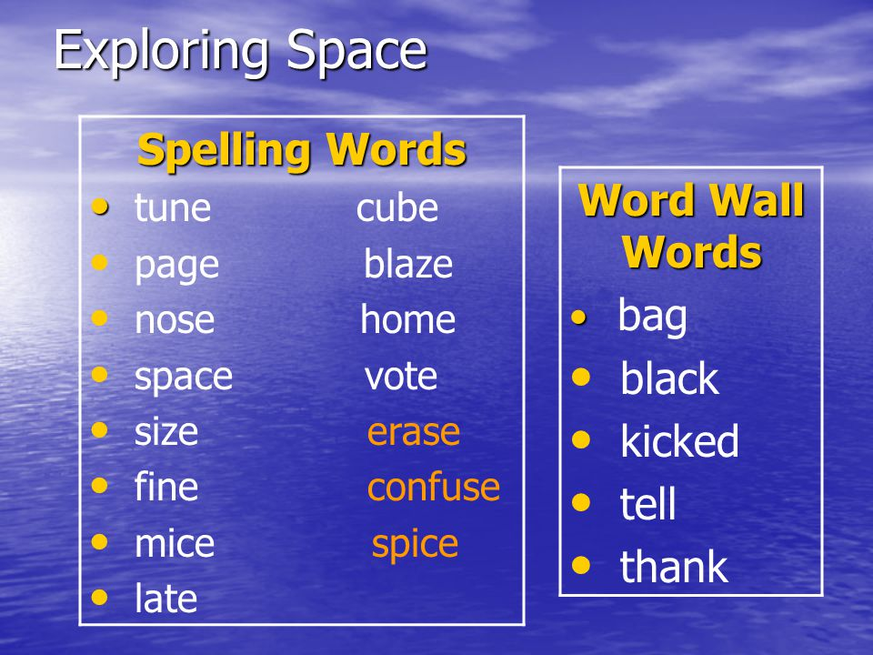 Exploring Space Spelling Words Word Wall Words black kicked tell thank