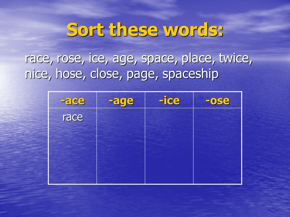 Sort these words: race, rose, ice, age, space, place, twice, nice, hose, close, page, spaceship. -ace.