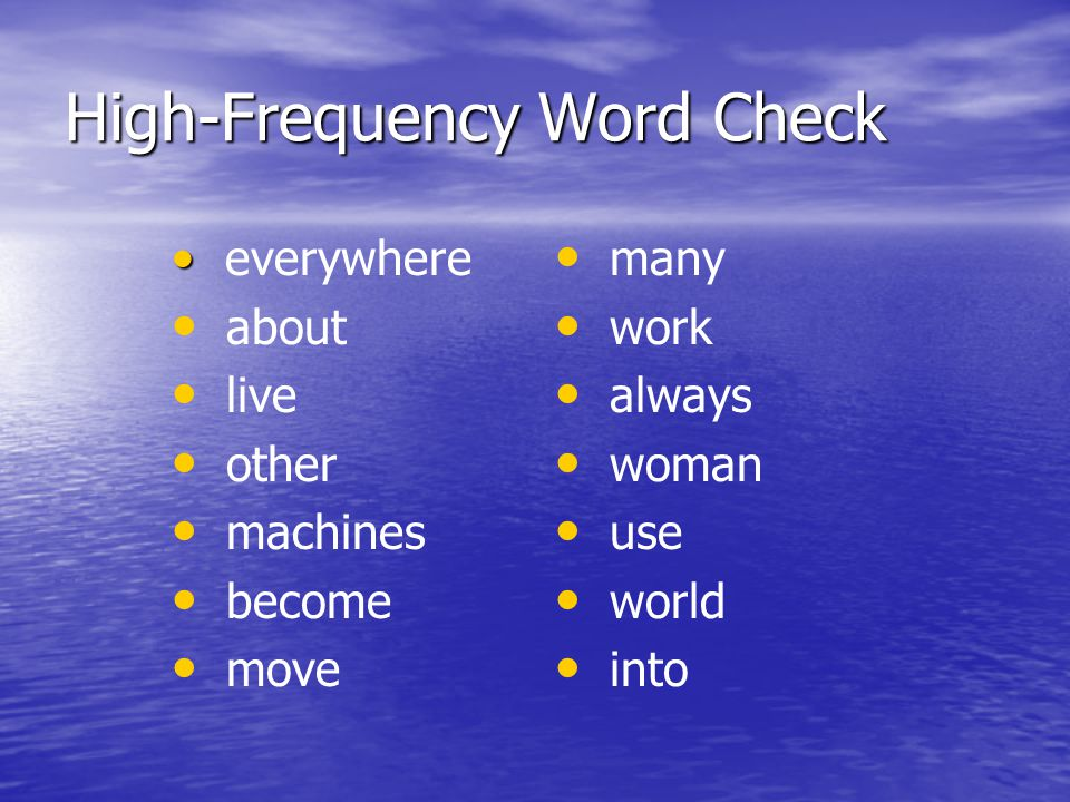 High-Frequency Word Check