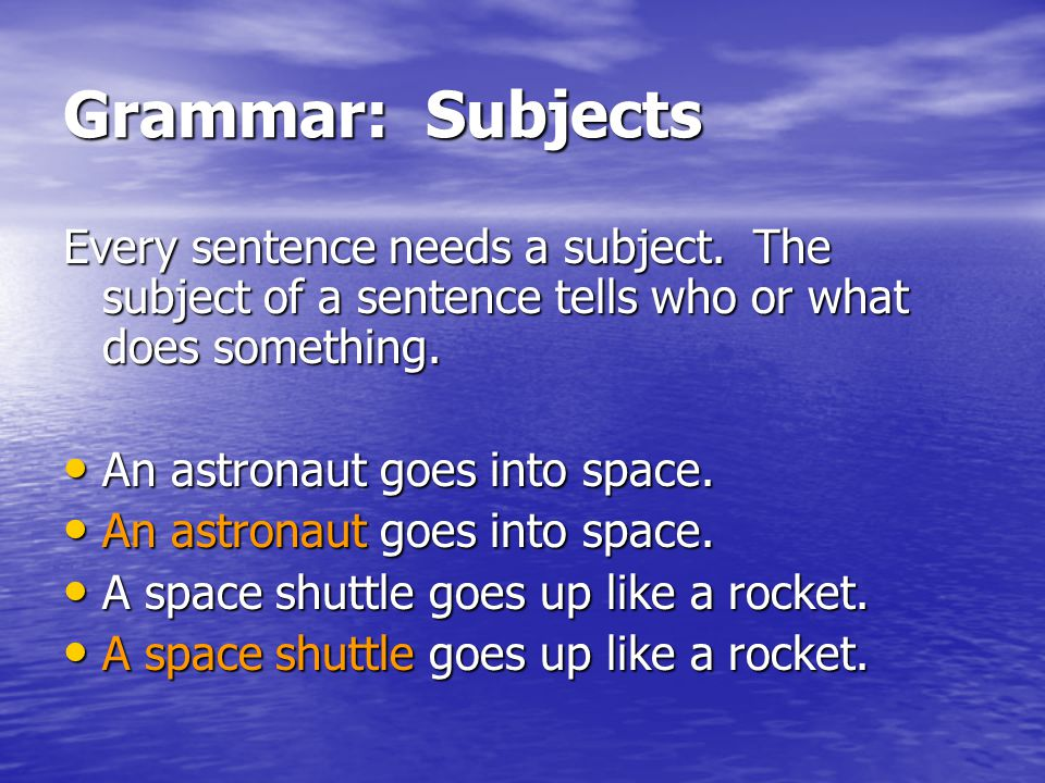 Grammar: Subjects Every sentence needs a subject. The subject of a sentence tells who or what does something.