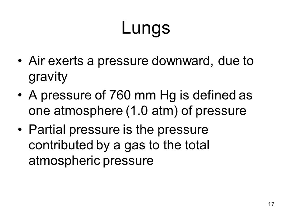 Lungs Air exerts a pressure downward, due to gravity