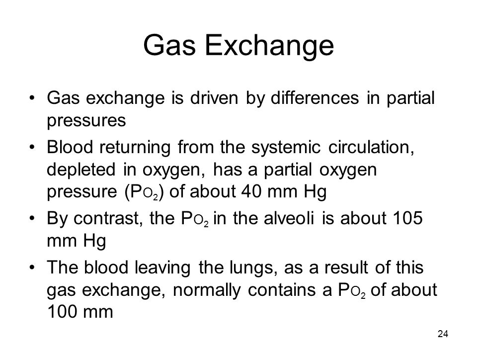 Gas Exchange Gas exchange is driven by differences in partial pressures.