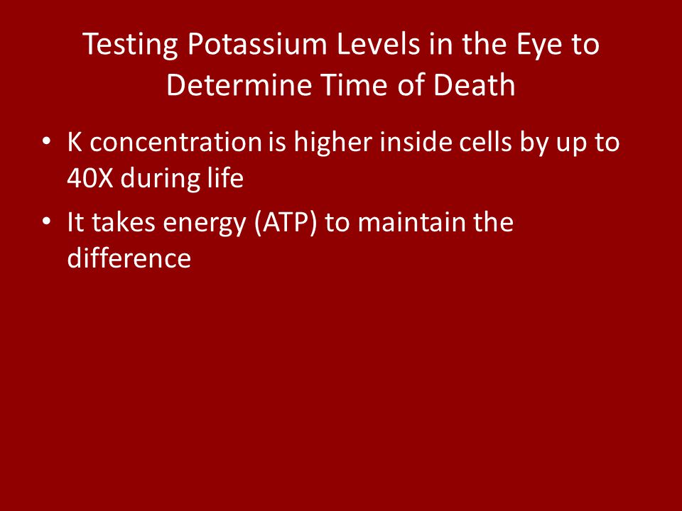 Testing Potassium Levels in the Eye to Determine Time of Death