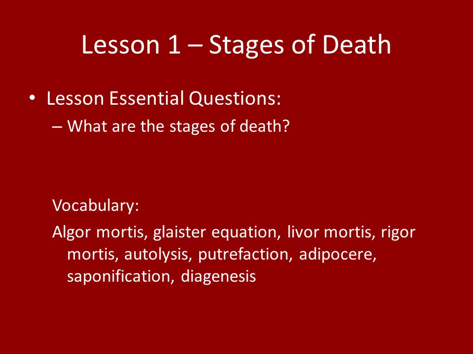 Lesson 1 – Stages of Death
