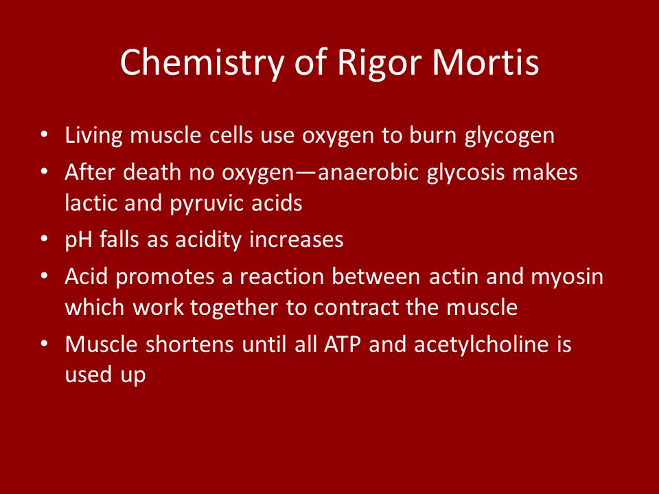 Chemistry of Rigor Mortis