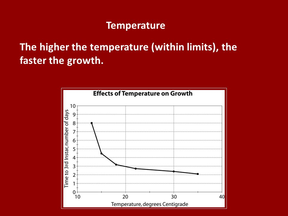 The higher the temperature (within limits), the faster the growth.