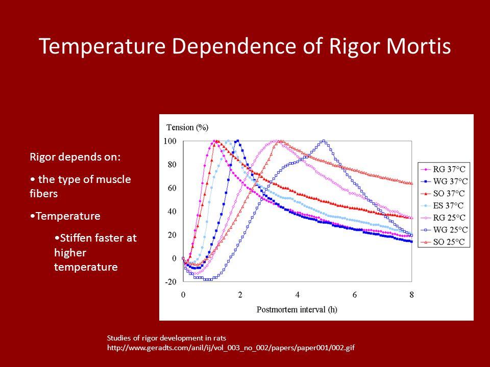 Temperature Dependence of Rigor Mortis