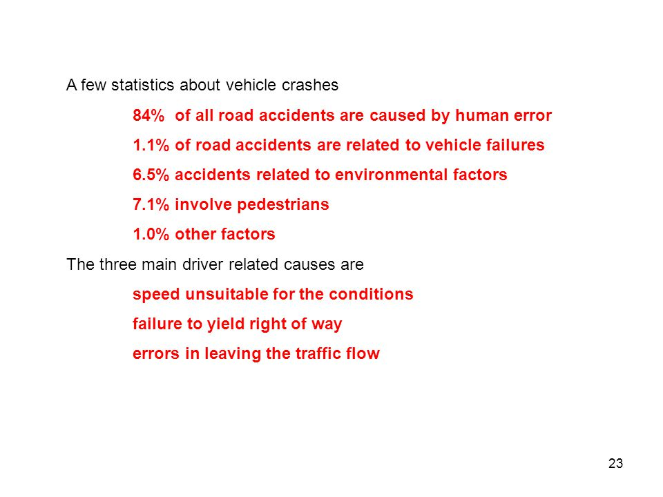 A few statistics about vehicle crashes