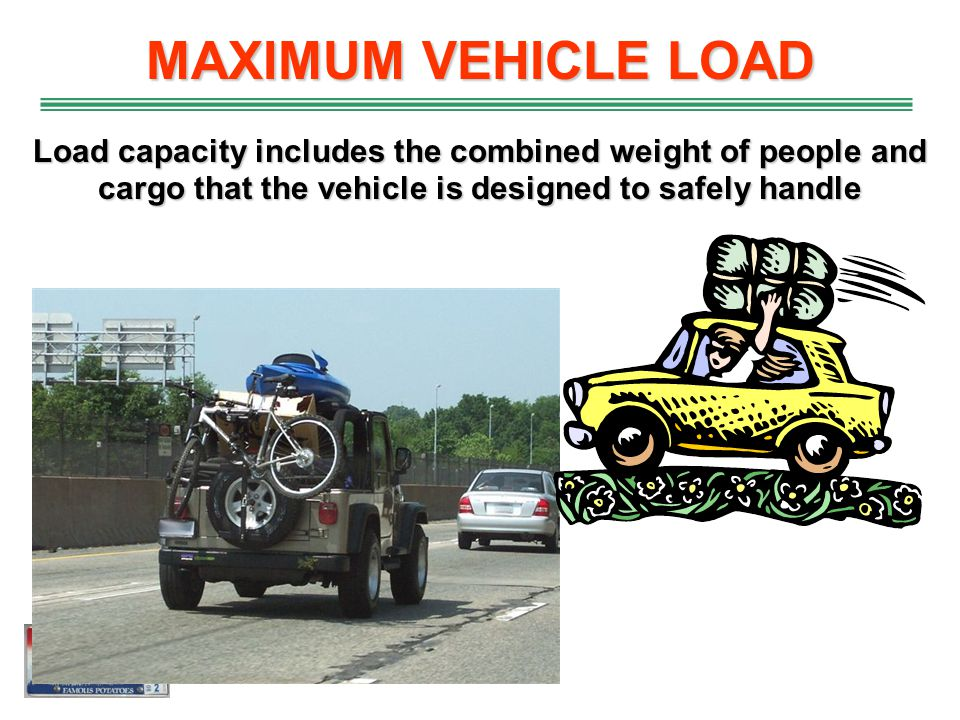 MAXIMUM VEHICLE LOAD Load capacity includes the combined weight of people and cargo that the vehicle is designed to safely handle.