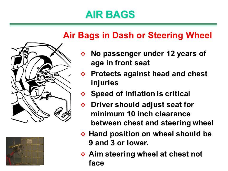 AIR BAGS Air Bags in Dash or Steering Wheel