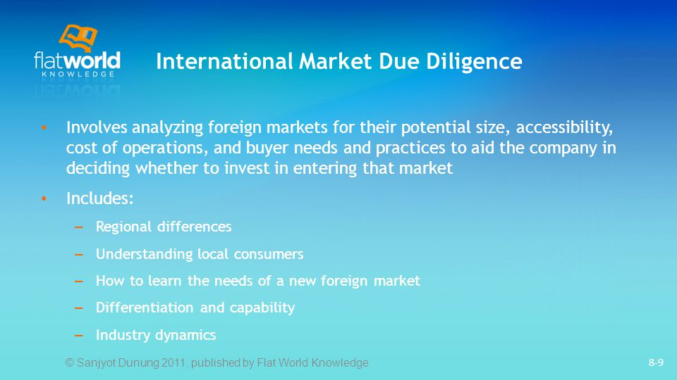 International Market Due Diligence