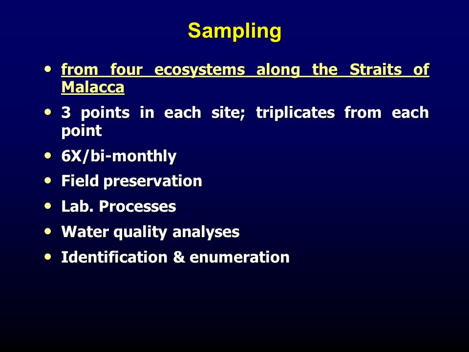 Sampling from four ecosystems along the Straits of Malacca