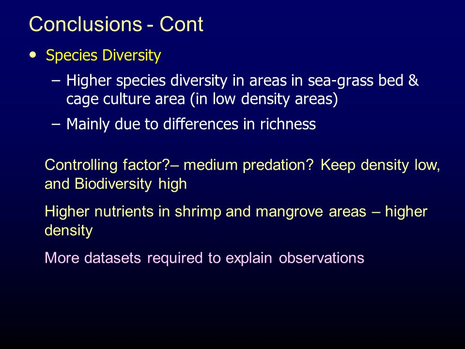 Conclusions - Cont Species Diversity