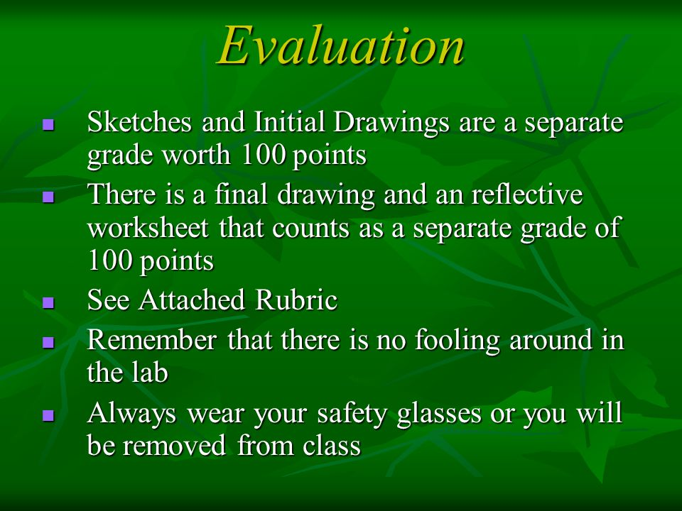 Evaluation Sketches and Initial Drawings are a separate grade worth 100 points.