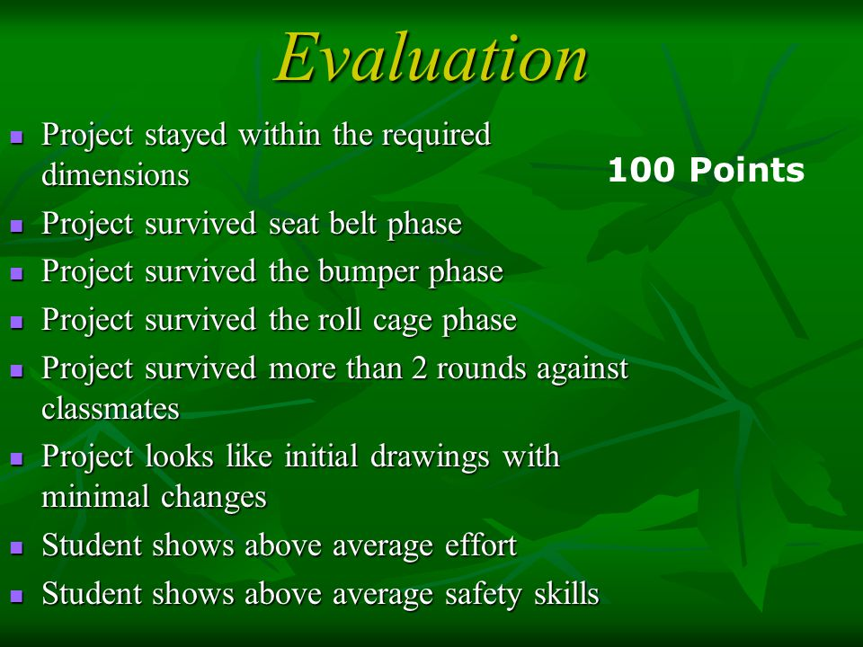 Evaluation Project stayed within the required dimensions 100 Points
