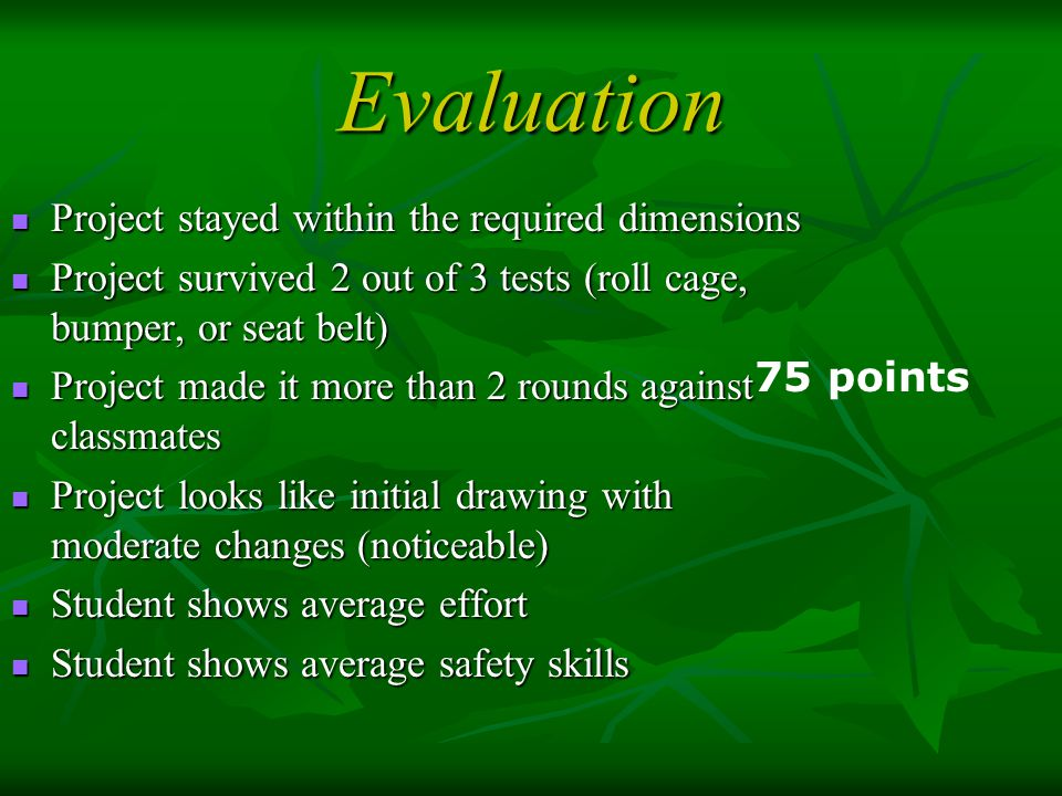 Evaluation Project stayed within the required dimensions