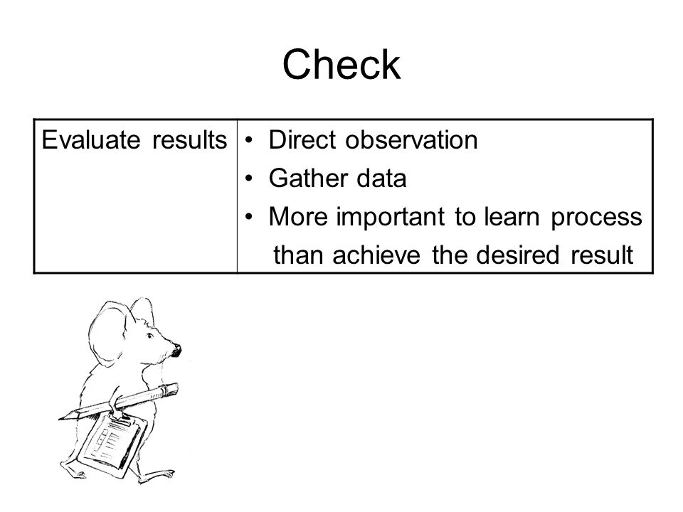 Check Evaluate results Direct observation Gather data