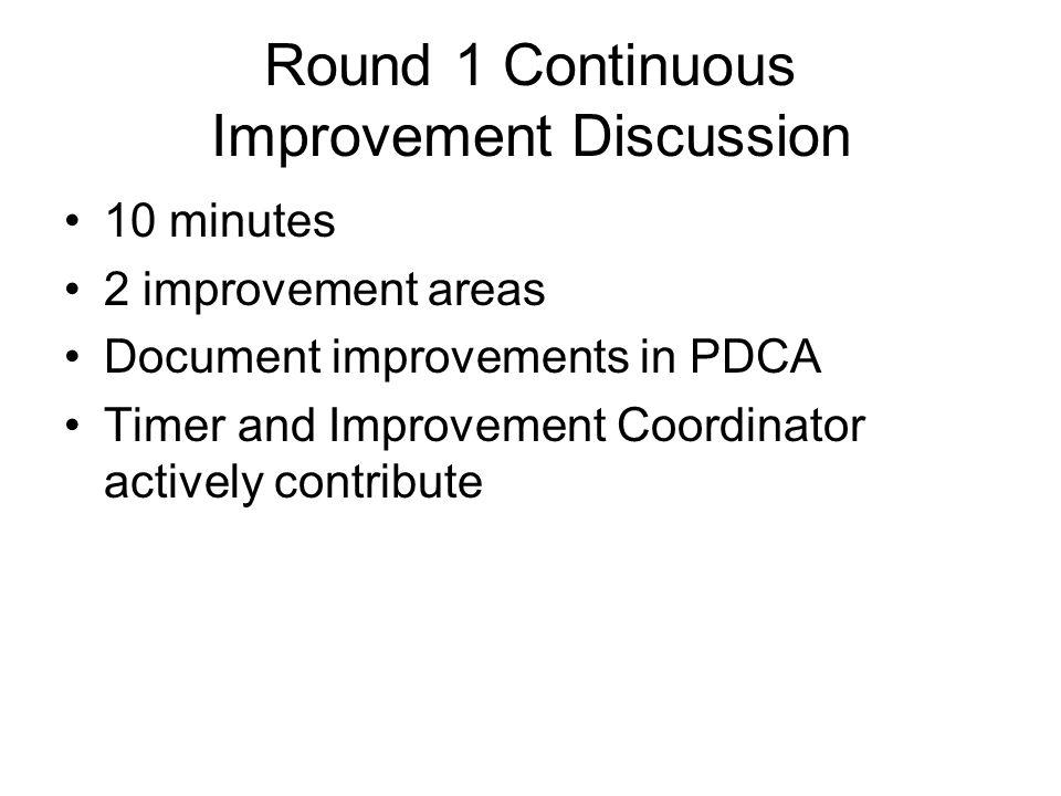 Round 1 Continuous Improvement Discussion