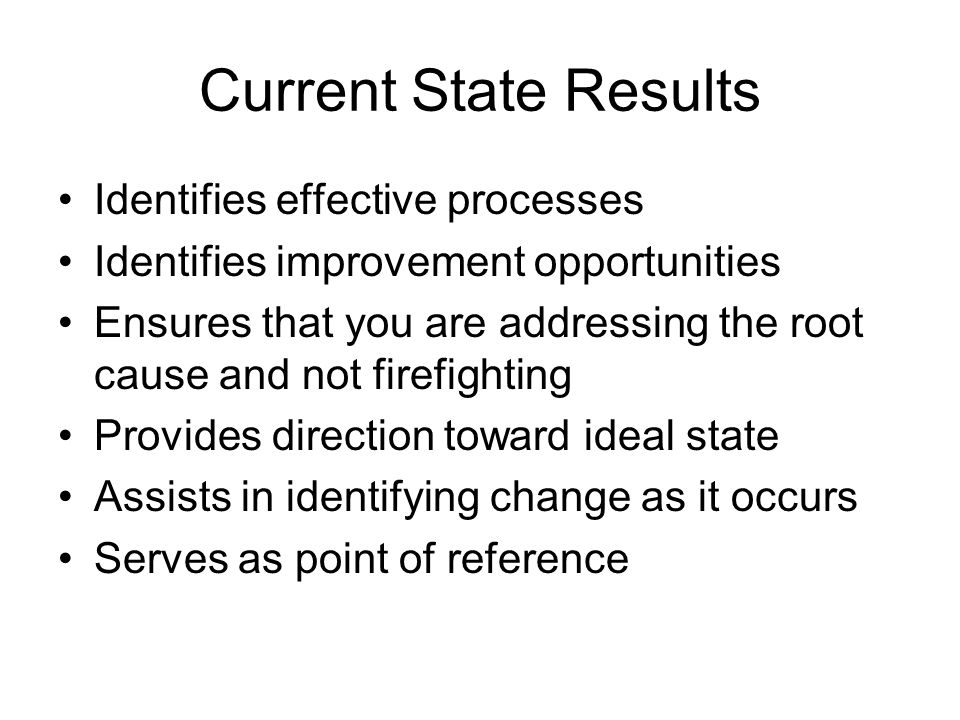 Current State Results Identifies effective processes