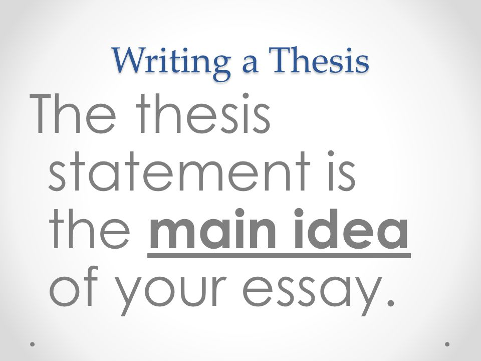 The thesis statement is the main idea of your essay.