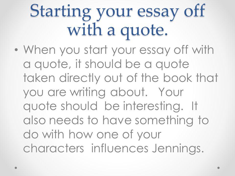 first word to start an essay