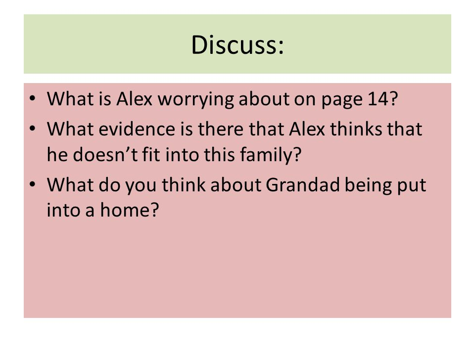 Discuss: What is Alex worrying about on page 14