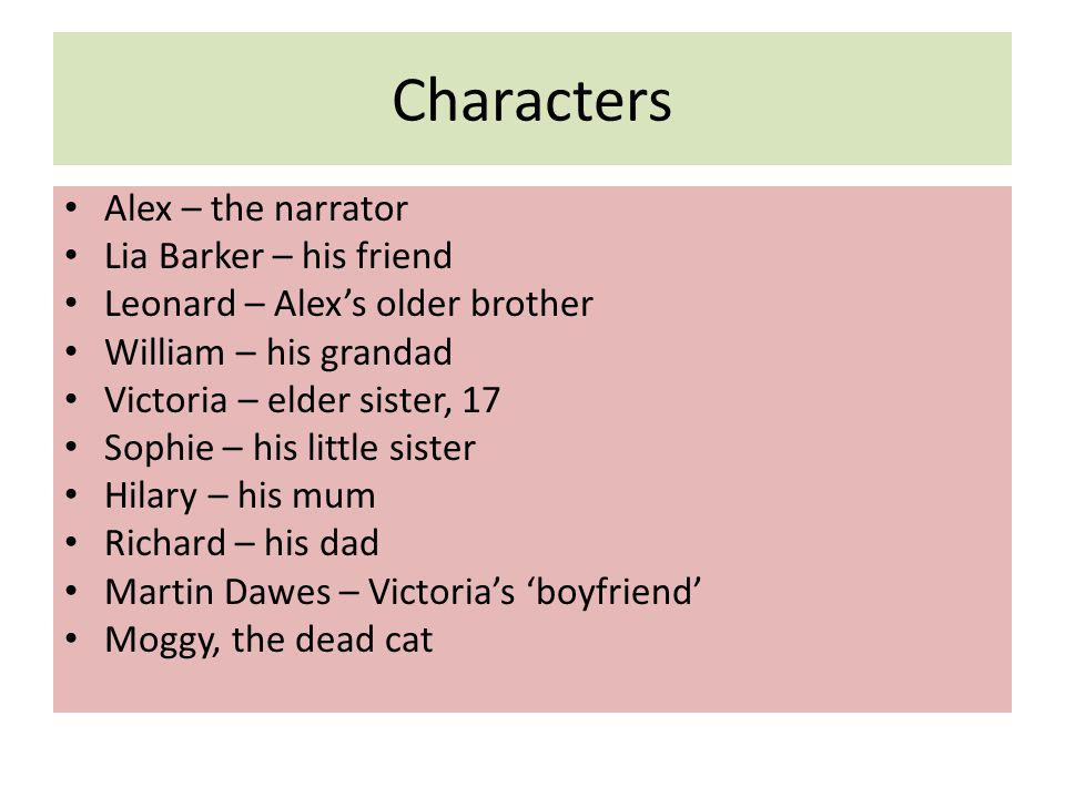 Characters Alex – the narrator Lia Barker – his friend