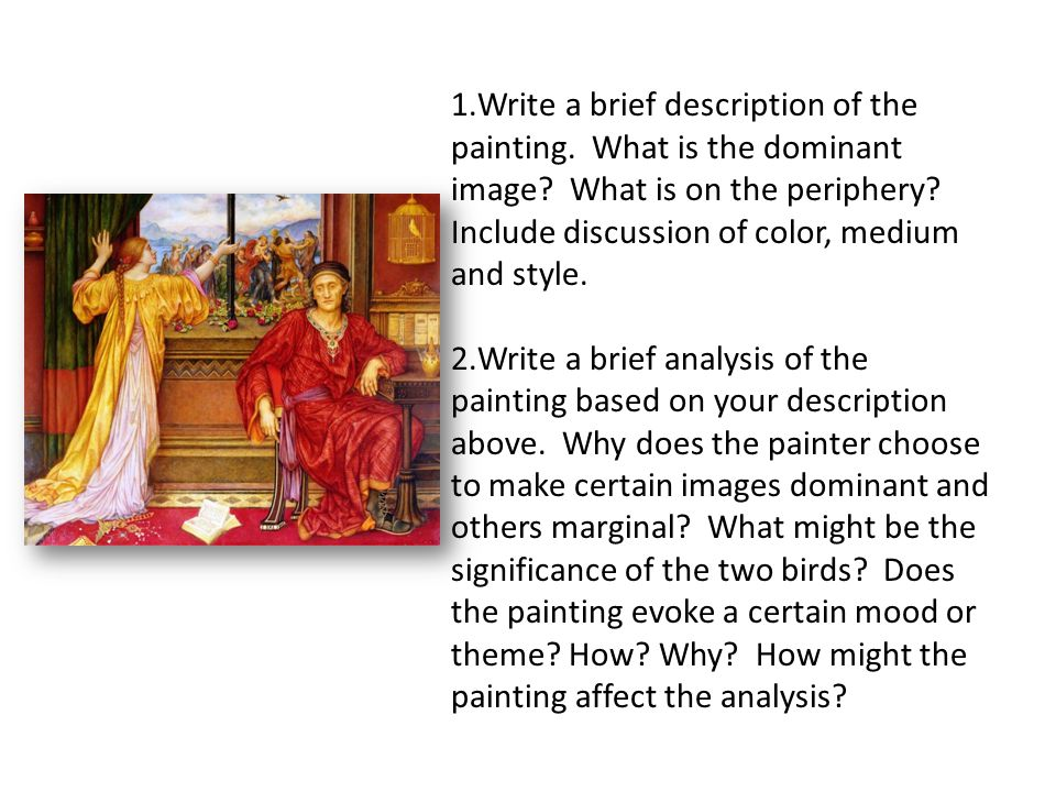 Write a brief description of the painting. What is the dominant image