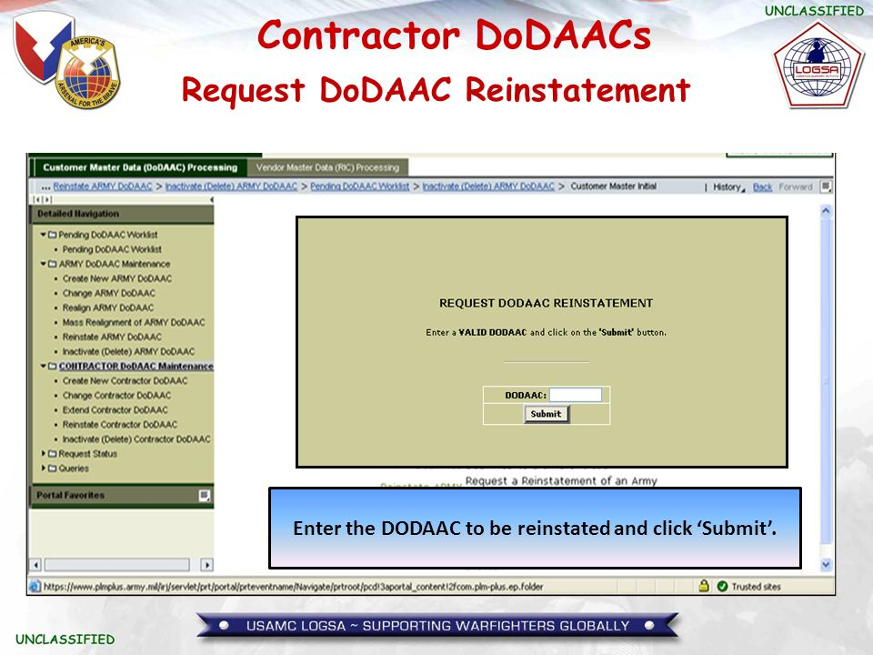 Request DoDAAC Reinstatement
