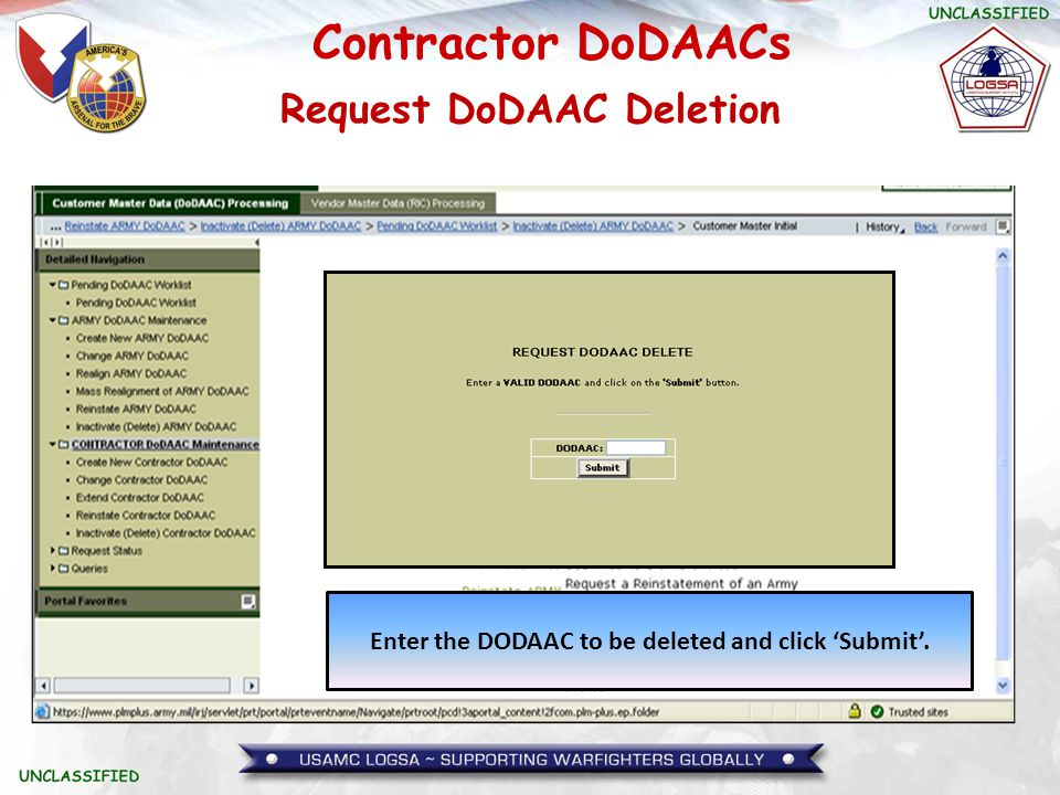 Request DoDAAC Deletion