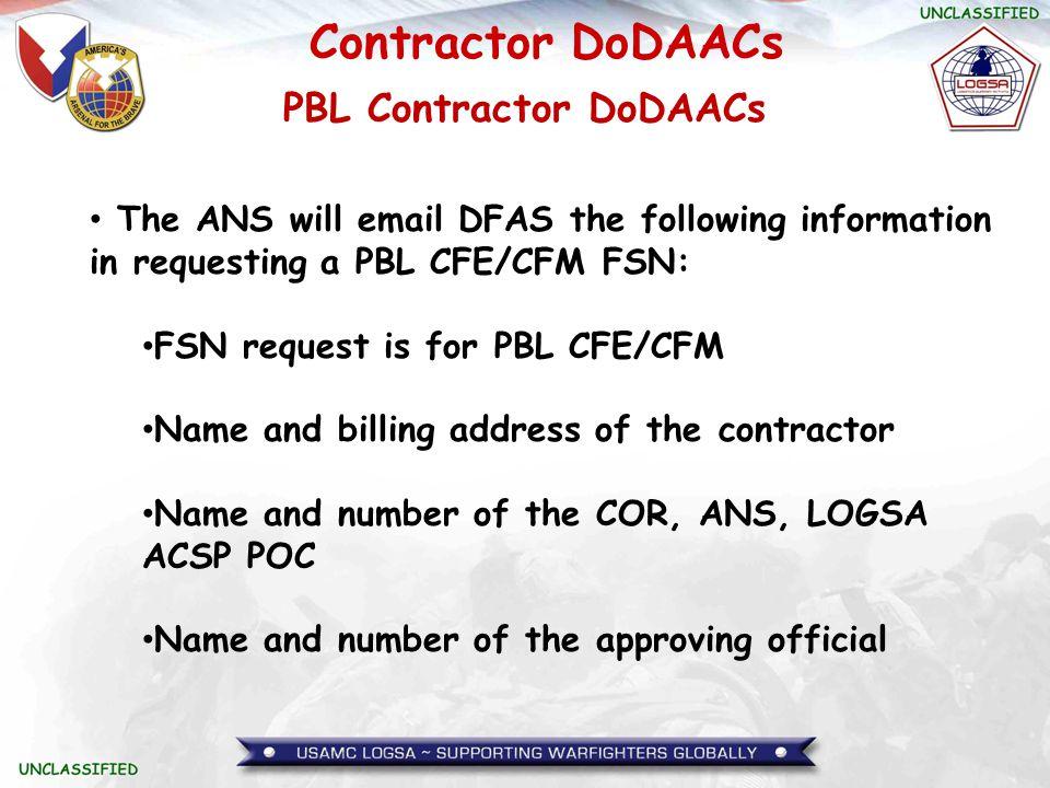 PBL Contractor DoDAACs