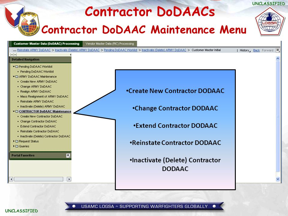 Contractor DoDAAC Maintenance Menu