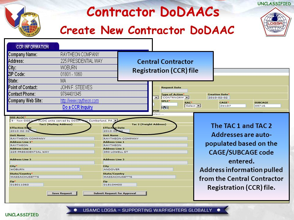 Create New Contractor DoDAAC