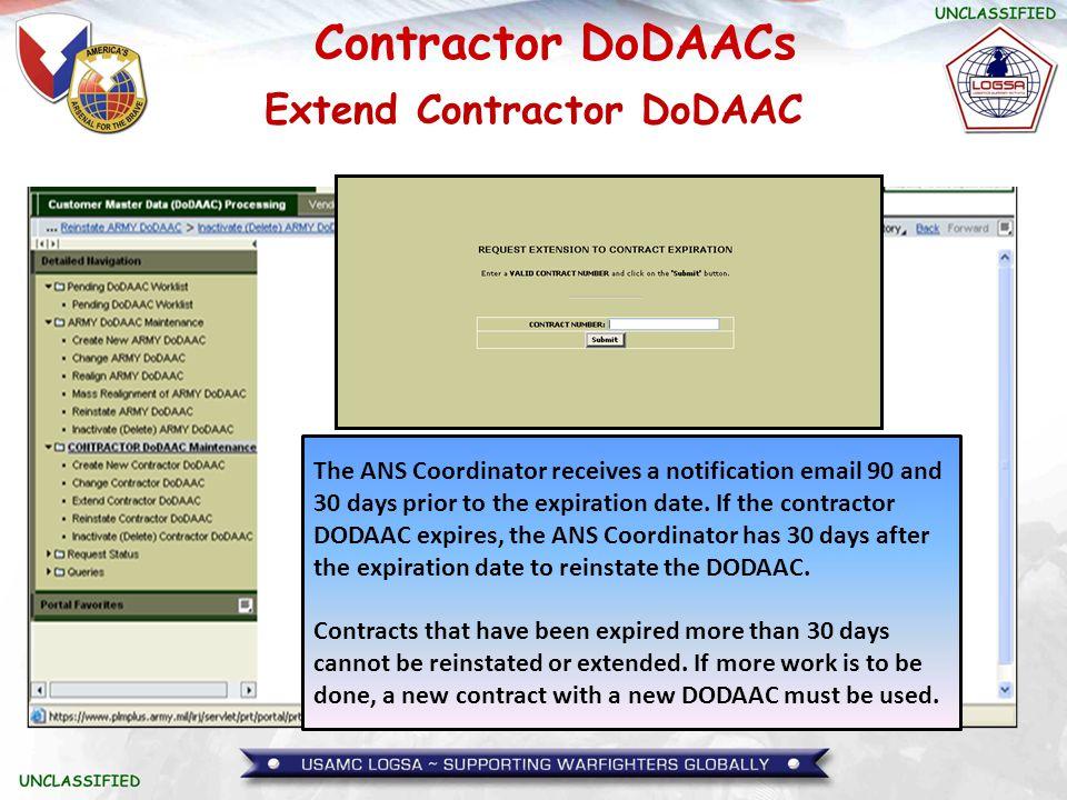Extend Contractor DoDAAC