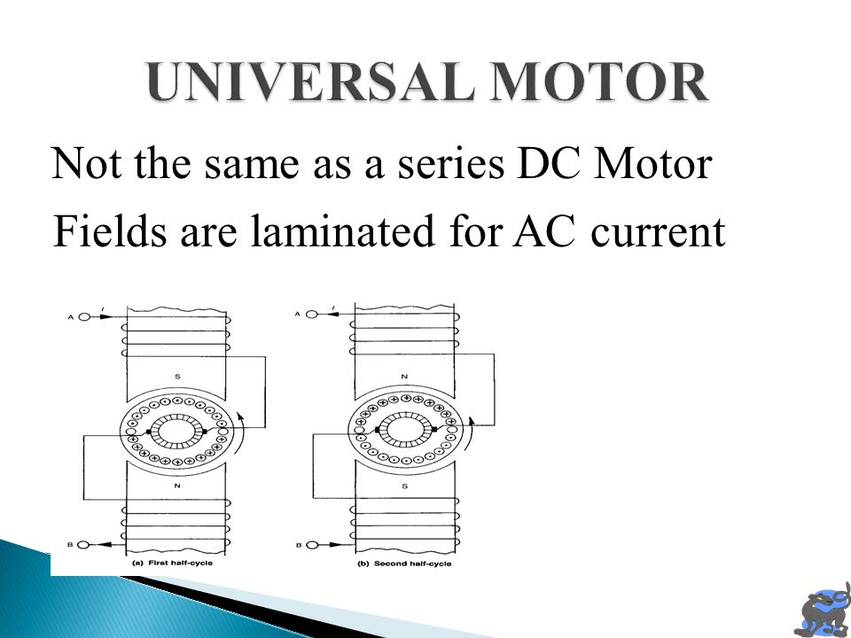 UNIVERSAL MOTOR Fields are laminated for AC current