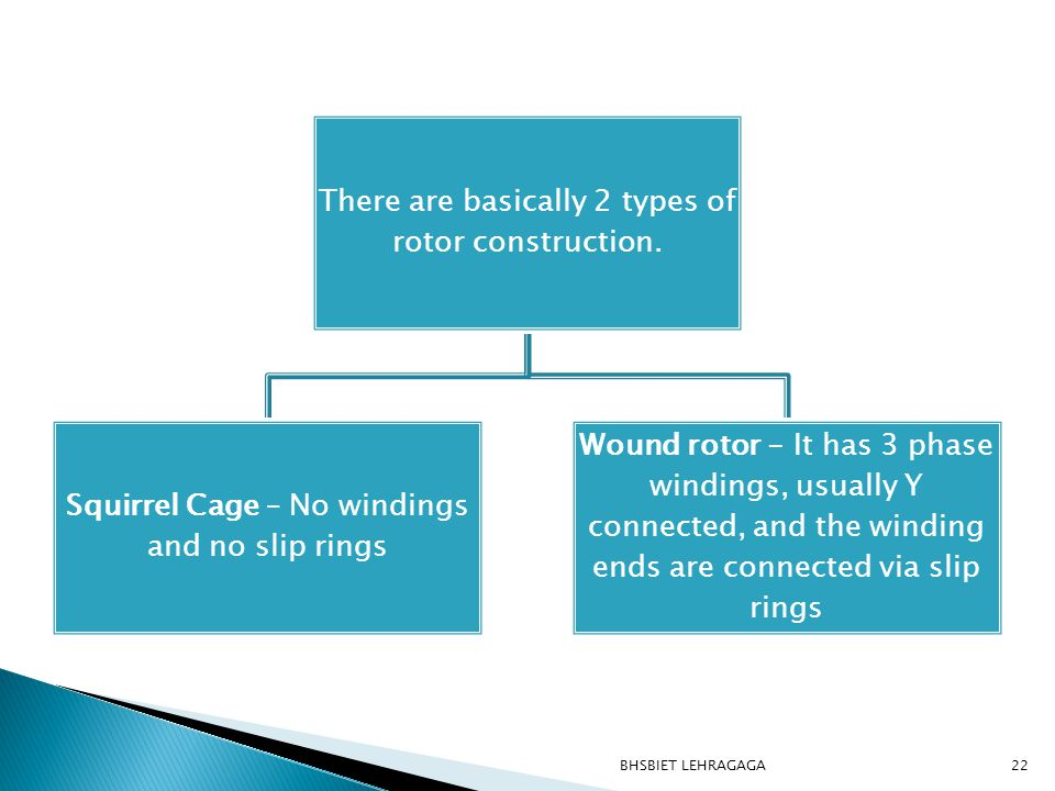 BHSBIET LEHRAGAGA There are basically 2 types of rotor construction.