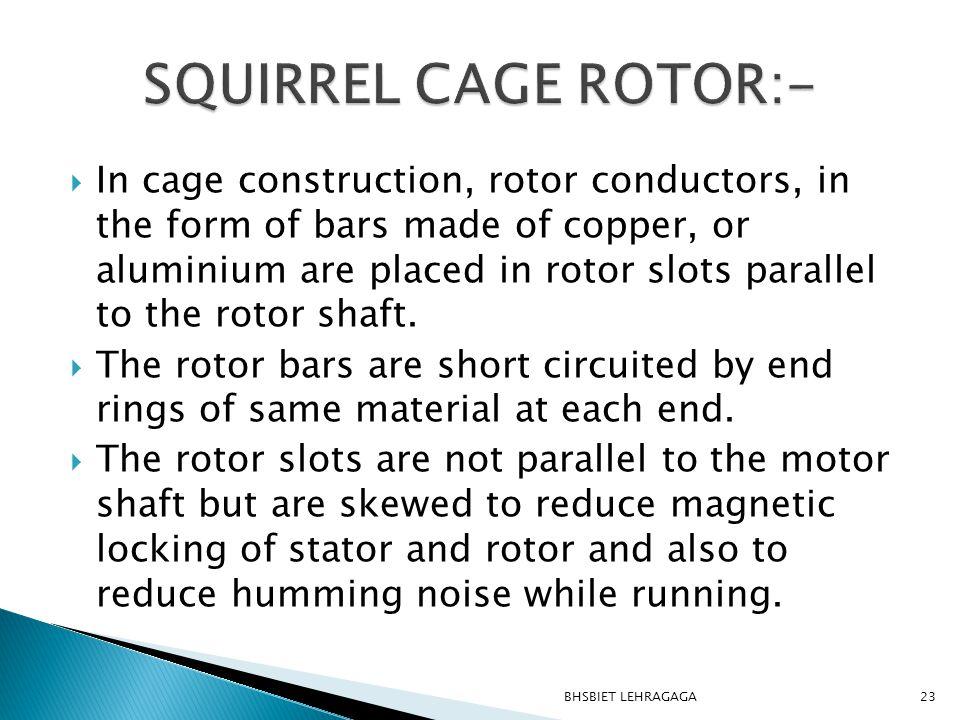 SQUIRREL CAGE ROTOR:-