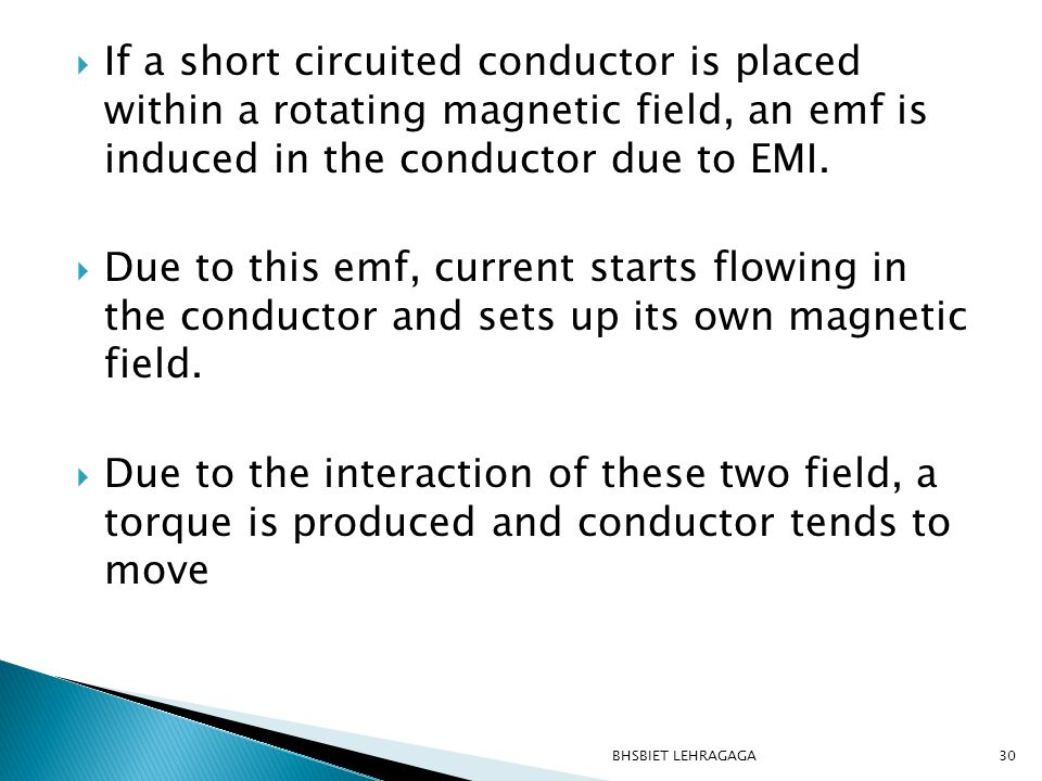 If a short circuited conductor is placed within a rotating magnetic field, an emf is induced in the conductor due to EMI.