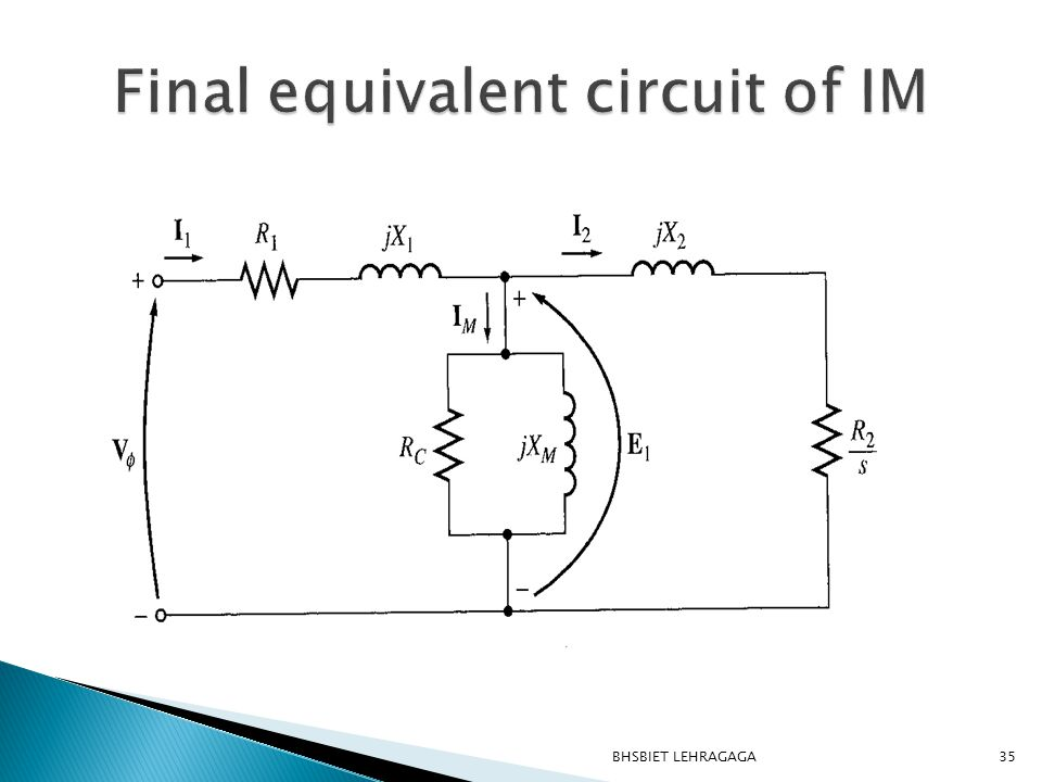 Final equivalent circuit of IM