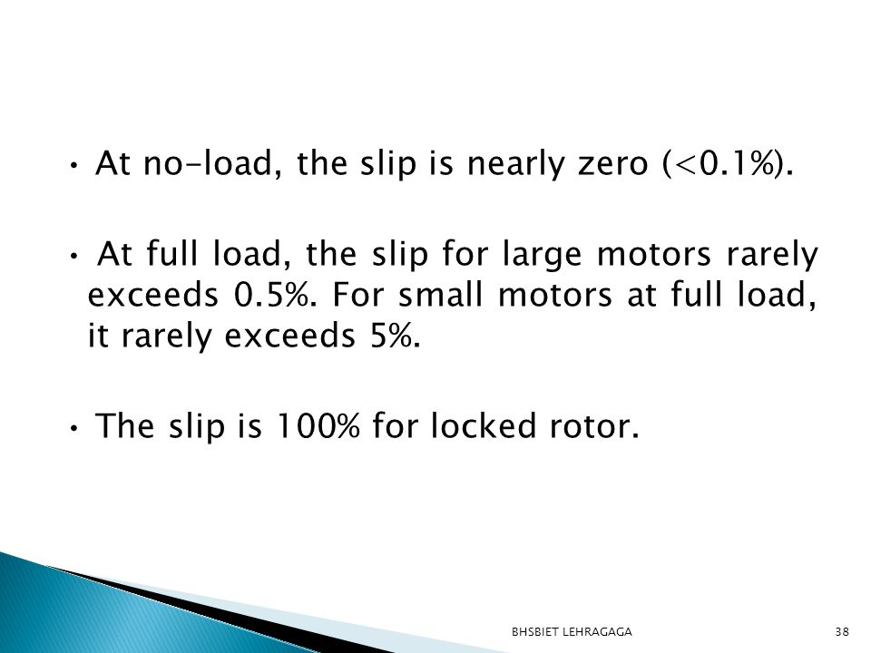 • At no-load, the slip is nearly zero (<0. 1%)