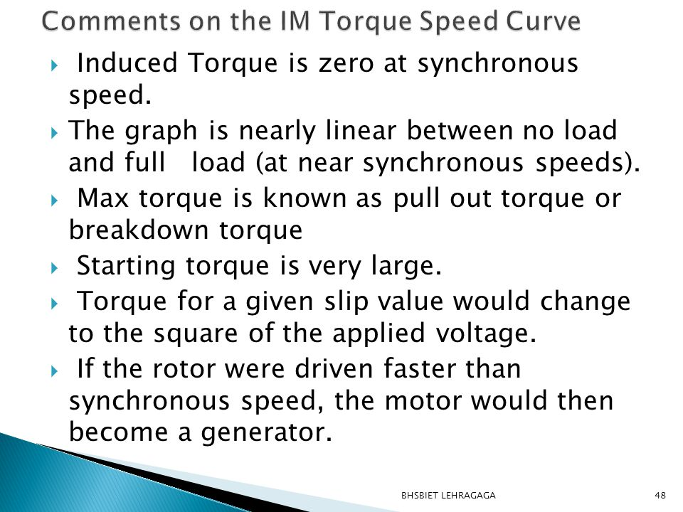 Comments on the IM Torque Speed Curve